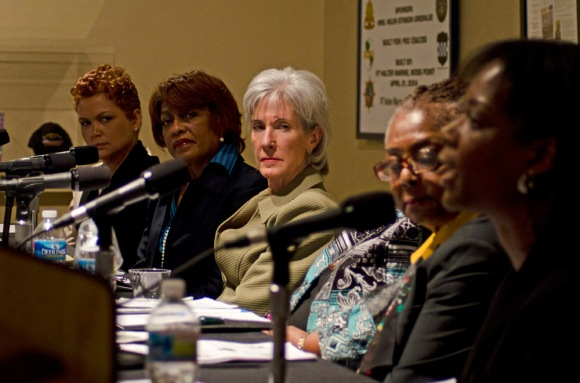 The panel of women were on hand to share personal stories of the issues with health care and the need for reform in America. From left: Tracey Johnson, Brenda  Shelton-Dunston, Secretary Kathleen Sebelius, Helen Rayon, and Dr. Lisa Lewis, PhD. ( Philadelphia Inquirer, February 17, 2012 )