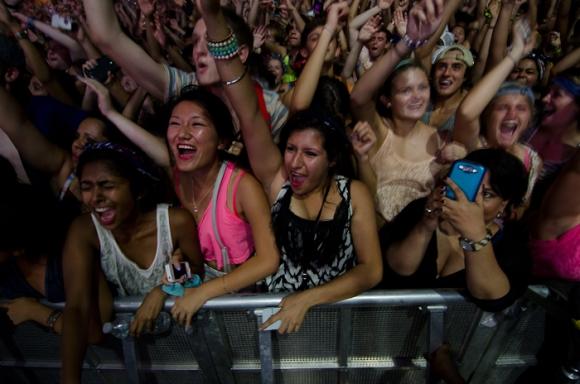 Fans during Calvin Harris' set on Sunday night.