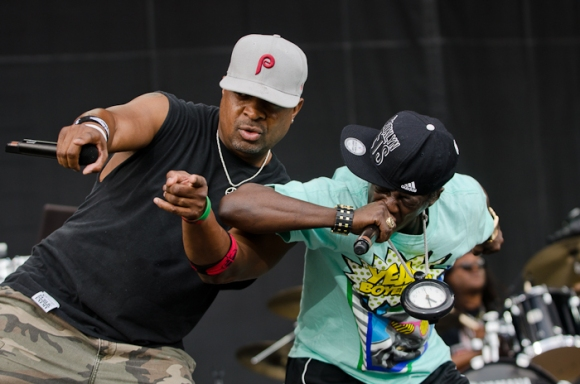 Chuck D (left) and Flava Flav (right) bring the ruckus with Public Enemy.